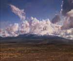 火山,蓝天,云层,岁月流逝,时间流逝,白云