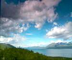 挪威的天空,蓝天,白云,山峰,山峦