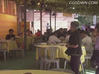 惬意,悠闲,风光,城市,小吃,街边,香港,视频素材