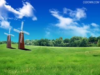 风车,蓝天白云,草原,草地