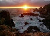 高清,海水,海洋,夕阳下的海洋,海水拍礁石, 海水拍岸