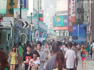 繁华,春熙路,成都,人群,街道,视频素材