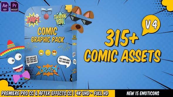 AE模板+PR预设-315个动漫卡通综艺表情贴纸文字图形动画包Comic Graphic Pack V4