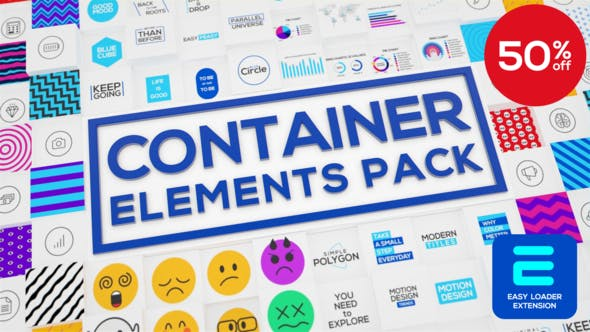 AE脚本+模板-500种标题字幕条EMOJI表情数据图形背景图标动画 Container – Elements Pack