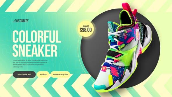 动感时尚运动产品运动鞋展示模板
